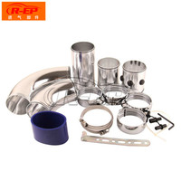 Universal 3 76mm Air Inlet Pipe Aluminum Alloy Set Turbo Inlet Tube Direct Cold Air Filter Injection System Car Intake Pipe Set