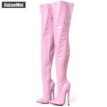 1a6fdb7137464 Jialuowei fétiche cuissardes bottes femmes 7 pouces 18 cm talons hauts  extrêmes Sexy talon aiguille