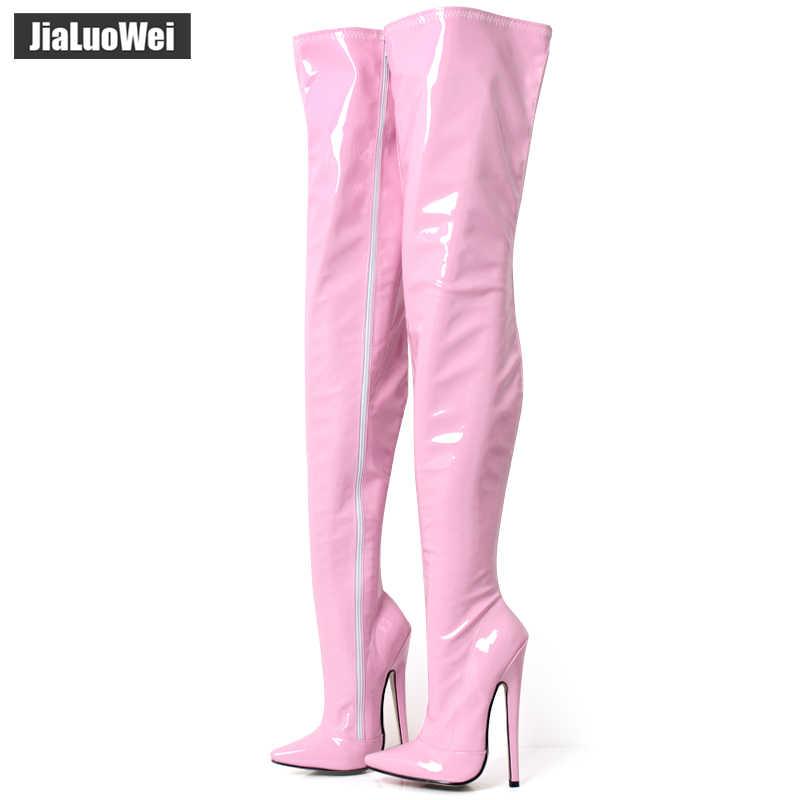 Jialuowei fetysz zakolanówki buty damskie 7 cali/18 cm ekstremalne wysokie obcasy seksowne szpilki cienkie obcasy Over-The-Knee Zip Crotch Boots