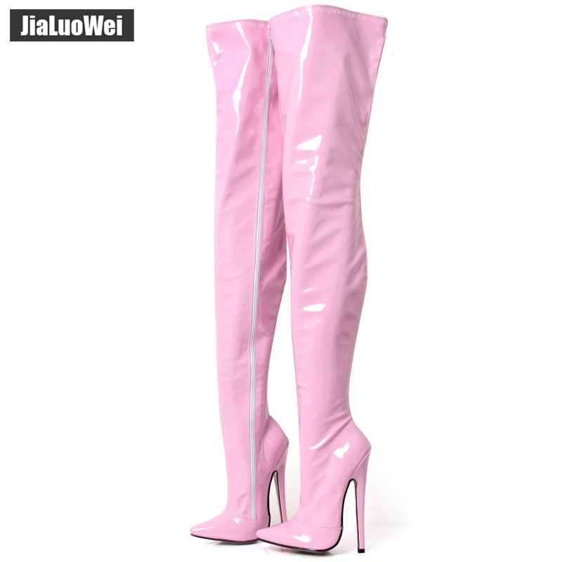 "jialuowei 7""/18cm Extreme High Heel Boots Fetish Sexy Stiletto thin heels Over-the-knee Zip Boots Thigh High Crotch Boots"