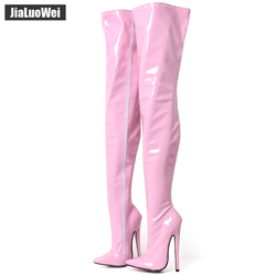 jialuowei Fetish Thigh High Boots Women 7 inch/18 cm Extreme High Heels Sexy Stiletto Thin Heel Over-The-Knee Zip Crotch Boots