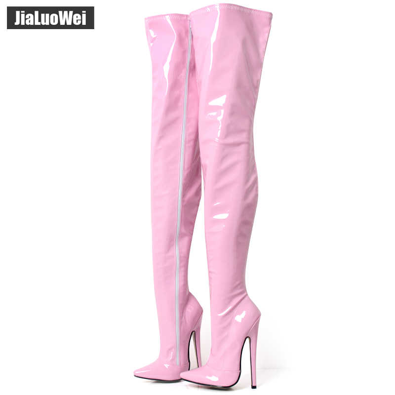 14df9580fa74 jialuowei Fetish Thigh High Boots Women 7 inch 18 cm Extreme High Heels  Sexy Stiletto