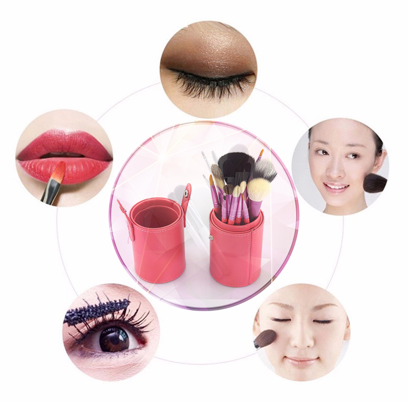 12pcs Professional MakeUp Brushes Beauty Cosmetics Set of Brushes For Makeup with Real PU Holder Brand Make up Tech brushes kit