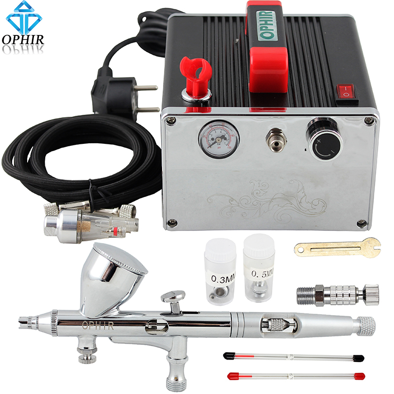 OPHIR PRO Dual Action Airbrush Kit with Air Compressor for Model Paint Cake Decotating Makeup Air Brush Nail Art Tool _AC091+070 ophir 0 4mm single action airbrush kit with 5 adjustable mini air compressor cake airbrush gun for makeup body paint ac094 ac007