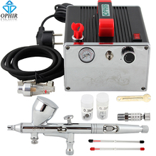 цены на OPHIR PRO Dual Action Airbrush Kit with Air Compressor for Model Paint Cake Decotating Makeup Air Brush Nail Art Tool _AC091+070  в интернет-магазинах
