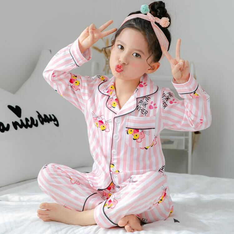 2019 Spring And Autum Pajamas Suit For Children Long Sleeve Lapel Cardigan Girls Clothing Kids Pajamas Set Sleepwear