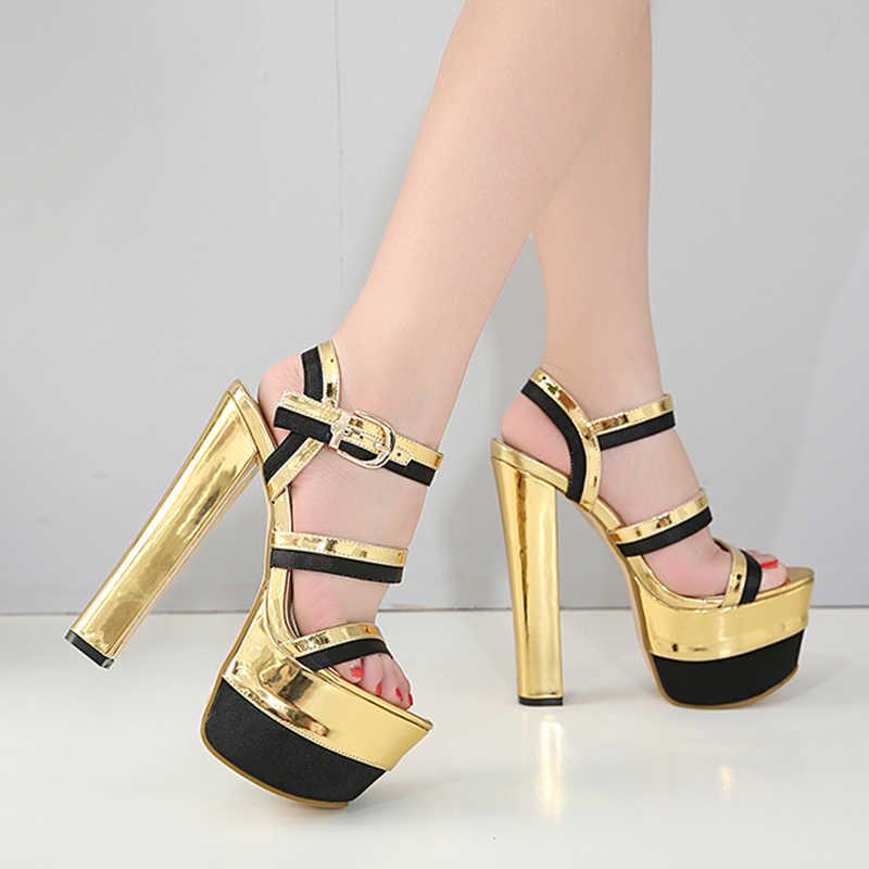 Gdgydh Yaz Seksi Sandalet Yüksek Topuklu Kadın Ayakkabı Karışık Renkler Altın Kadın parti ayakkabıları Platformu Ayak Bileği Kayışı düğün elbisesi 2018