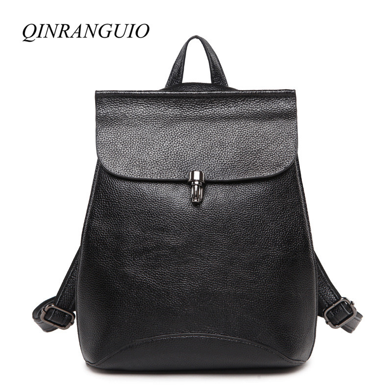 QINRANGUIO Women Backpack High Quality Genuine Leather Backpack Cow Leather Black Travel Backpack Casual Mochila Feminina стоимость