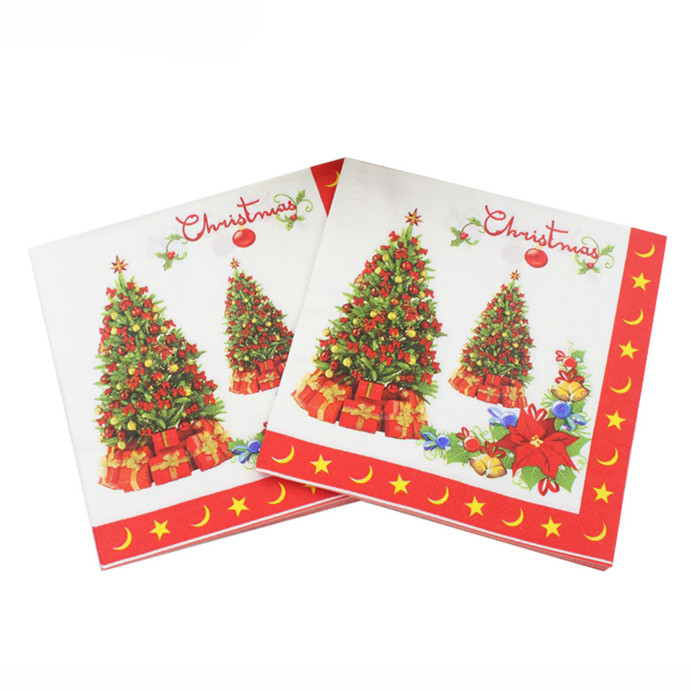 New Christmas tree Printed Feature Paper Napkins for Party Decoration Tissue Decoupage Servilleta 33cm*33cm 20pcs/pack/lot