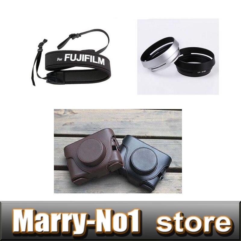 Kameratasche aus leder tasche pouch+ schwarz lh-x100 gegenlichtblende + umhängeband für fuji...