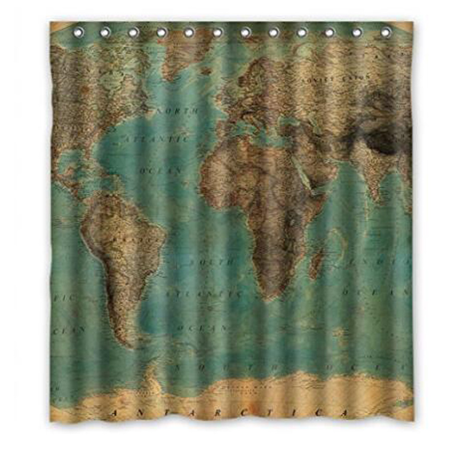 Vintage shower curtains - Vintage Style World Map Custom Bathroom Curtain Shower Curtains Woman Shadow Vintage Shower Curtain Waterproof Polyester