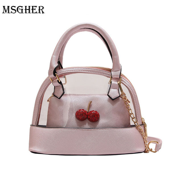 M.S PVC Diamond Cherry Women Handbag Casual Panelled Sweet Womens Shoulder Messenger Bag Plaid Ladies 2 pcs Small Circle Bag