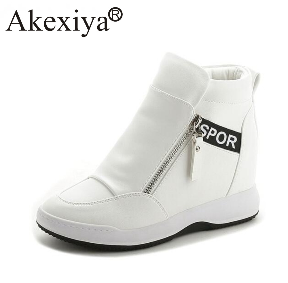 Akexiya High Quality Women Wedge High Heels Shoes White Black Ankle Boots Platform Sneakers Height Increasing Running Shoes
