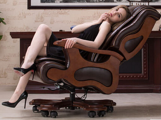 Luxury Wood Chair Swivel Chair Boss Leather Chair Lift Reclining Leather Computer Chair Massage