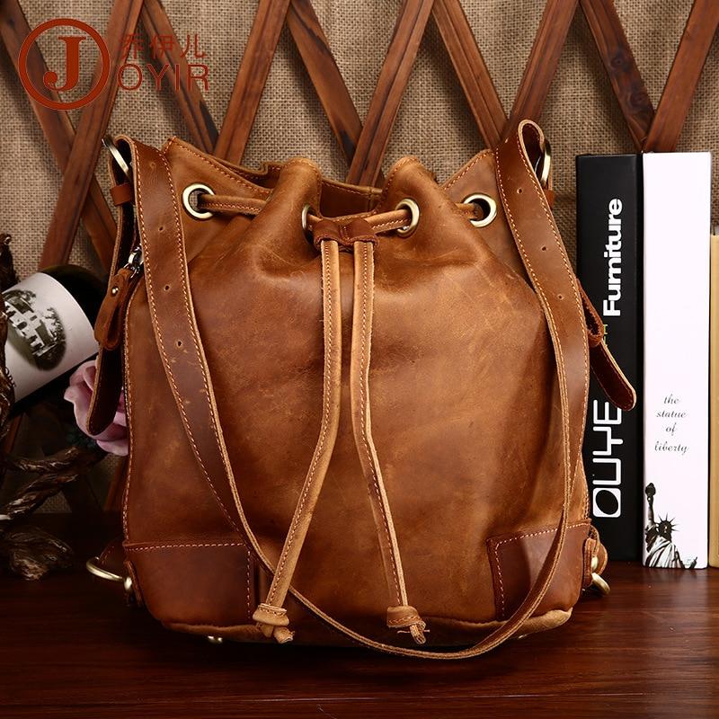 Us 82 8 Vintage Fashion 100 Genuine Leather Bucket Bag Womens Handbag Double Shoulder Bags Brown Crazy Horse Drawstring Hot In