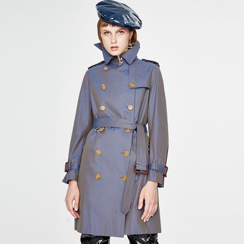 classic   trench   coat women outwear Waterproof Raincoat office lady 2018 fall winter luxury brand khaki blue green high quality