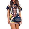 Moda bohemia dress mujeres mini partido de la gasa de la playa vestidos de verano estilo una línea evasé blusa vestidos de festa