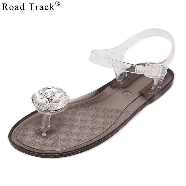 Road Track Jelly Sandals Large Solid Crystal Diamond Flower Flat with Clip  Toe Plastic Tide Platform Sandals XWA1169-5 b18d5ed741fd