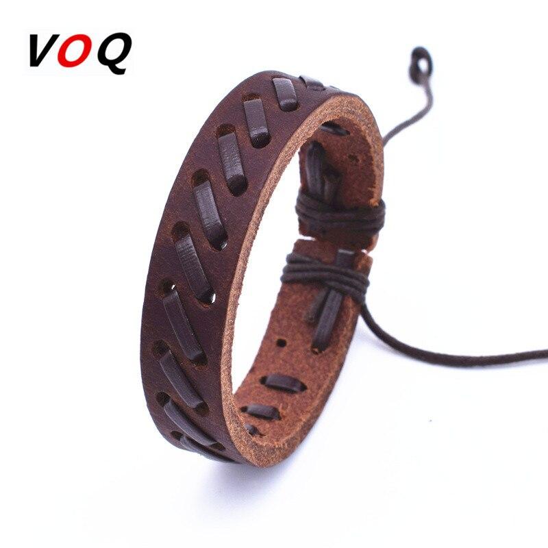 Punk Leather Bracelet Men Jewelry Rock Bracelets For Women Hand-Woven Love Vintage Bracelets & Bangles