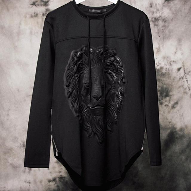 Hip hop neoprene hoodies brand fashion designer lion stars 3d sweatshirt men casual long sleeve side zipper hoodie Nora501087