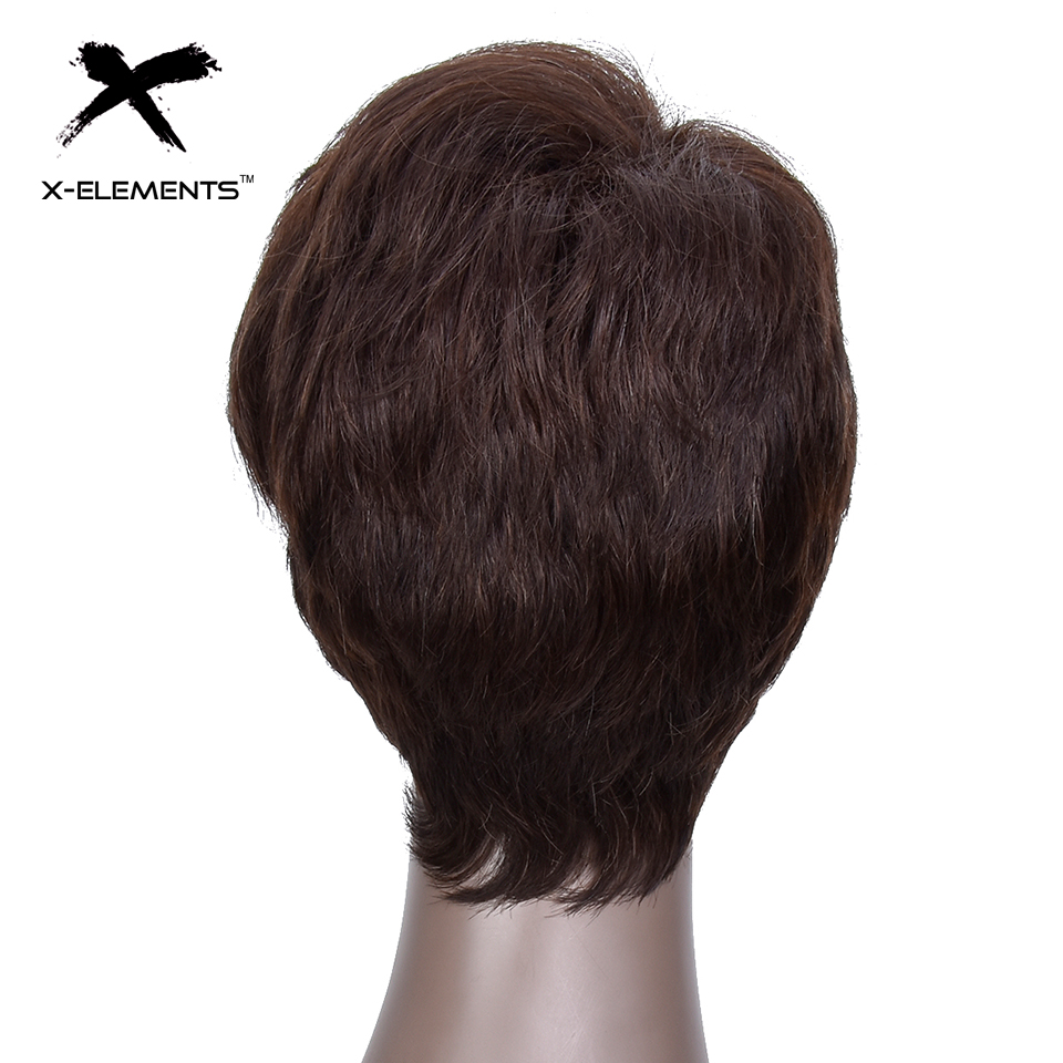 X-Elements Peruvian Short Human Hair Wigs With Bangs H.VERA Non-Remy Machine Made Natural Wave Hair Wigs For Women No Smell (4)