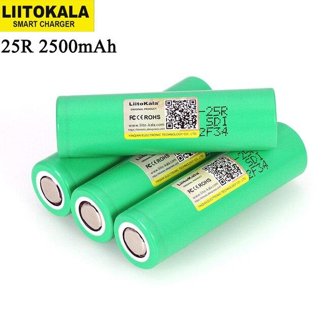 Liitokala INR18650 25R 18650 2500mAh 3.6V بطاريّة ليثيوم قابلة لإعادة الشحن 20A التفريغ بطاريات