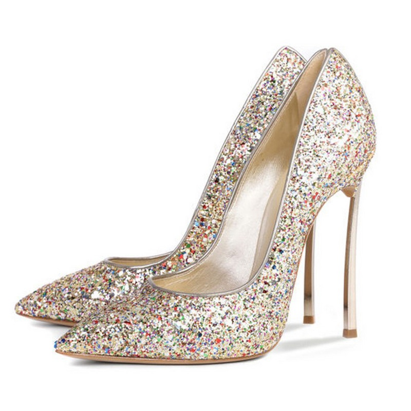 Sexy Pointed Toe Glitter High Heels Pumps Pointed Toe Blade Heels Women Party Dress Shoes Slip-on Bride Heels Pumps newest metal leaves high heel pumps pointed toe slip on women wedding dress shoes 2018 spring autumen bride heels pumps
