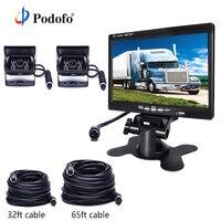 Podofo 7TFT LCD Car Monitor + 4 Pin IR Night Vision Rear View Camera DC 12V 24V for Truck RV Caravan Trailers Bus Houseboat