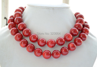 Charming AA++ Real 16mm round red coral bead necklace 34inch