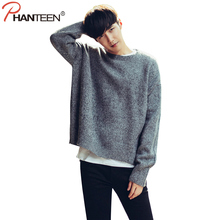 Phanteen Gray Color Loose Man Sweaters Confortable High Quality Soft Warm Pullovers Hem Slit Design Fashion Men Jumpers