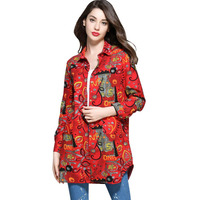 Stylish Floral Printed T Shirt Cotton Long Sleeve Women Loose Casual Ladies Shirt Tops Turn Down