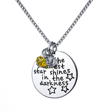 """Even The Smallest Star Shines In The Darkness""Engraved Inspirational Message Pendant Necklace Graduation Gift for Best Friend"