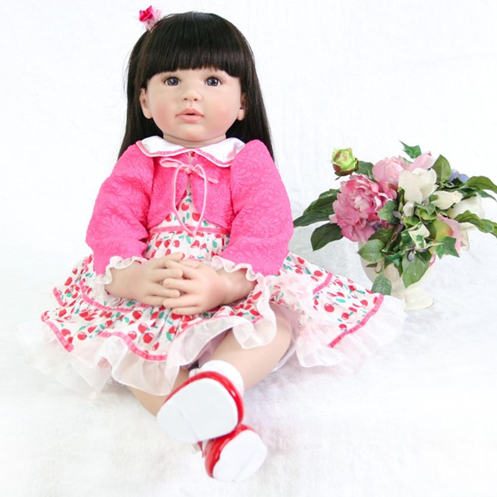 60cm Silicone Vinyl Reborn Baby Doll 24inch Princess Toddler Alive Bebe Accompany Doll 24inch longhair girl dolls for sale toy60cm Silicone Vinyl Reborn Baby Doll 24inch Princess Toddler Alive Bebe Accompany Doll 24inch longhair girl dolls for sale toy