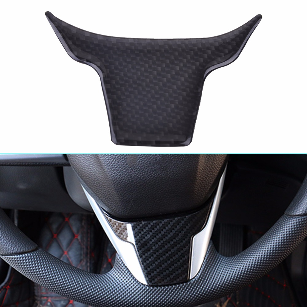 DWCX Car Black Front Carbon Fiber Steering Wheel Panel Cover Decoration Trim Fit for Honda Civic 2016 2017 Molding Cover Frame