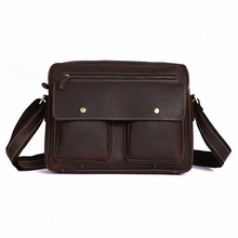 Vintage Brown Real Genuine Leather Crazy Horse Leather causal Men Messenger Bags Briefcase men cross body bags handbags LI-651