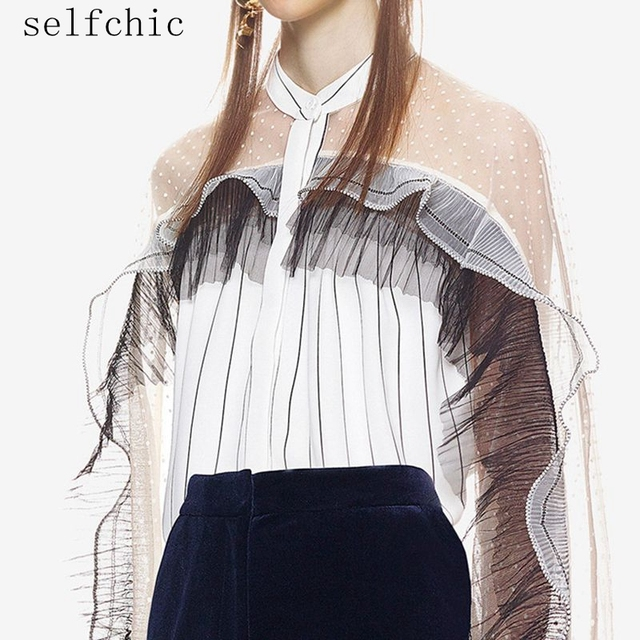 Office Blouses 2018 Women Sexy See Through White Striped Long Sleeve Sheer Tops