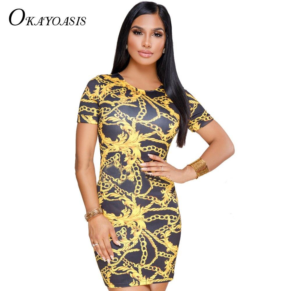 2018 Summer Women Mini Dress Chain Printed O Neck Vintage Short Sleeve  Bodycon Sexy Lady Party Club Dresses Bandage Vestidos 3f303ceb8daa