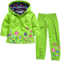 New Clothing Set Autumn Flower Pattern Kids Clothes Girls Clothes Sets Raincoat Pant 2Pcs Casual