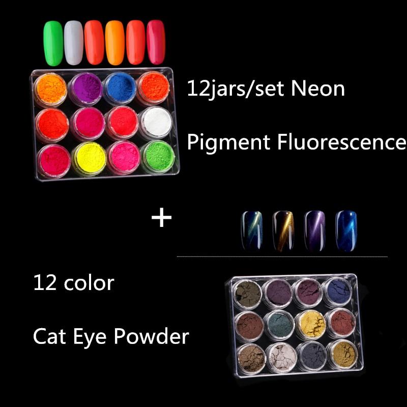 12 color Cat Eye Powder + 12 Pcs Brushes Magic Mirror Powder and 12jars/set Neon Pigment Fluorescence Effect Nail Glitter