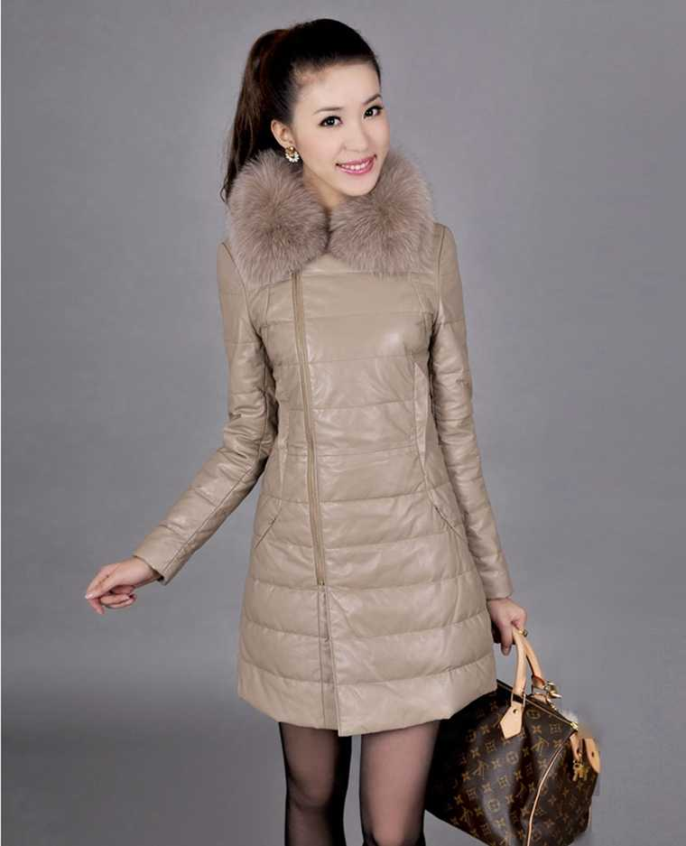 Winter Coat Women Plus Size Pu Leather Parkas Coat Fur Collar Plus Cotton Thicken Hooded Long PU Leather Jacket Overcoat A4164