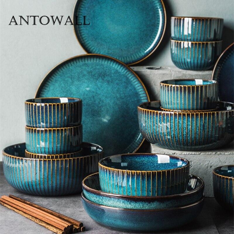 ANTOWALL service de table en céramique | Ménage européen assiette porte-bonheur, bol série star light, service de vaisselle chinoise