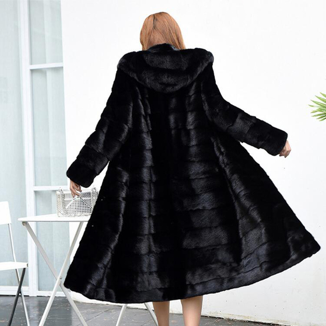 Luxury Long Customize Plus Size Factory Real Price Genuine Rabbit Real Fur Coat Women Fur Jacket New Winter sr587 2