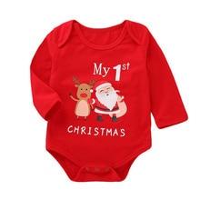 Рождественская одежда для малышей, одежда для малышей платье с длинными рукавами для маленьких девочек с надписями и изображениями героев мультфильмов; с принтом комбинезоны детские одежда# BL0