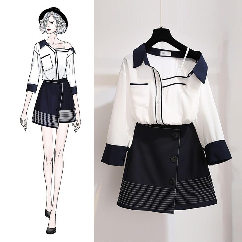 Automne femmes costumes, nouveaux vêtements, 2018 demi manches bouton patchwork doux bureau femme costumes, deux pièces ensembles.