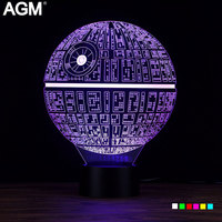 AGM Star Wars Death Star LED 3D Lamp Night Light Luminaria Novelty USB Touch 7 Colors