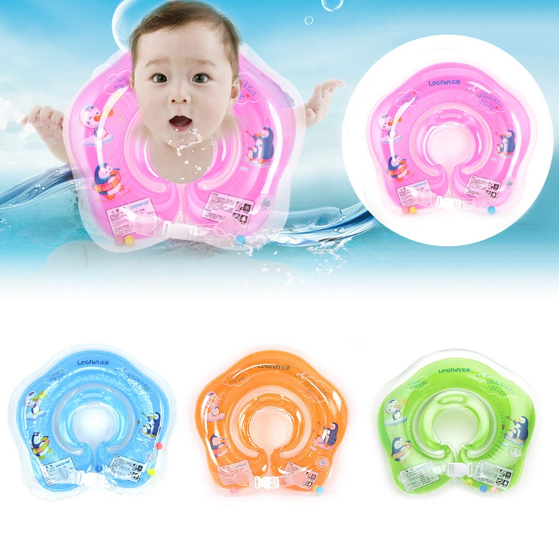Safe Inflatable Circle New Born Infant Adjustable Swimming Neck Baby Swim Ring Float Ring Safety Double Protection Child Toys