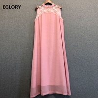 Top Quality Brand Chinese Style Dress 2019 Summer Fashion Blue Pink Dress Women Organza Embroidery Sleeveless Mid Calf Dress XXL