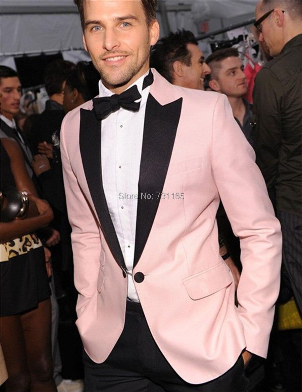Diseño rosado Esmoquin para hombres boda del novio hombres traje ...