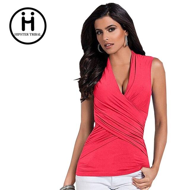 c728fdad518d 1 Stücke Mode Frauen V-ausschnitt Baumwolle T-Shirts Ohne Ärmel Weiblichen  Sommer Stil