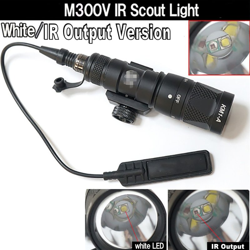 CQC Tactical M300V IR Output LED Scout Light IR Flashlight Paintball Hunting Rifle Weapon Light